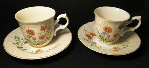 Mikasa Margaux Tea Cup Saucer Sets D1006 Fine Ivory 2 | DR Vintage Dinnerware and Replacements