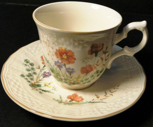 Mikasa Margaux Tea Cup Saucer Set D1006 Fine Ivory | DR Vintage Dinnerware and Replacements
