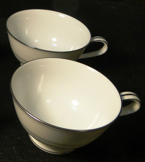 Noritake Envoy Tea Cups 6325 White Platinum Trim Set of 2 | DR Vintage Dinnerware and Replacements