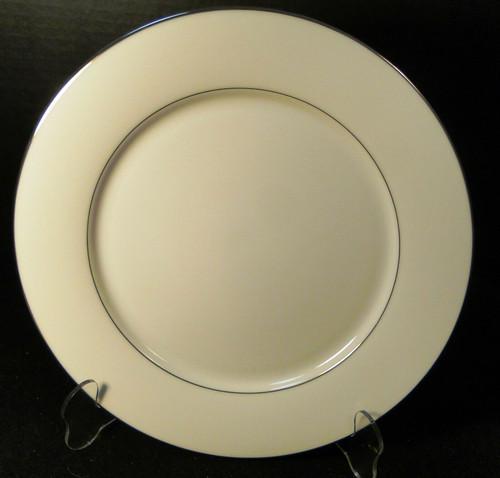 "Noritake Envoy Dinner Plate 10 1/2"" 6325 White Platinum Trim Excellent"