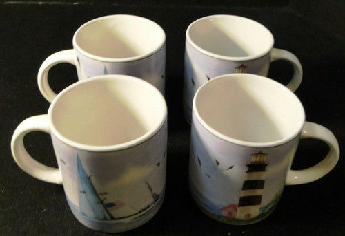 Thomson Pottery Lighthouse Coffee Cups Mugs Nautical Set of 4 Excellent
