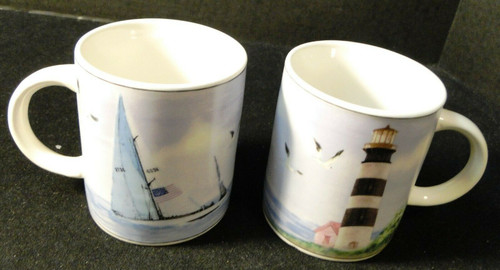 Thomson Pottery Lighthouse Coffee Cups Mugs Nautical Set of 2 Excellent