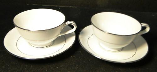 Noritake Envoy Tea Cup Saucer Sets 6325 White Platinum Trim 2 Excellent