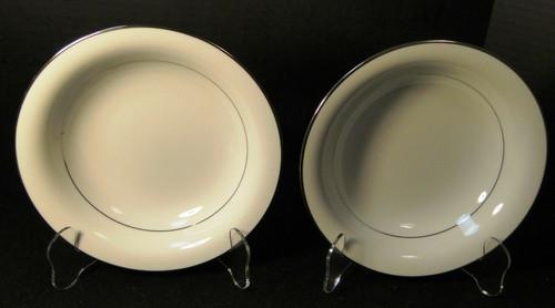"""Noritake Envoy Coupe Soup Bowls 7 1/2"""" 6325 White Platinum Trim Set 2 Excellent"""
