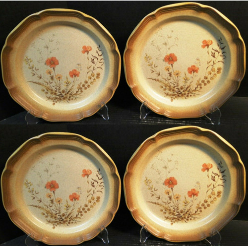 """Mikasa Whole Wheat Jardiniere Dinner Plates 10 3/4"""" E8016 Set of 4 