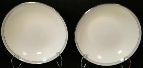 "Noritake Silver Key Coupe Soup Bowls 7 3/8"" 5941 Salad Set of 2 Excellent"