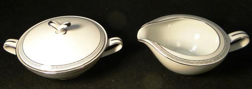 Noritake Silver Key Creamer Sugar with Lid Set 5941 Excellent