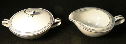 Noritake Silver Key Creamer Sugar with Lid Set 5941 | DR Vintage Dinnerware and Replacements