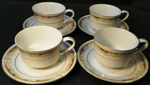Signature Collection Queen Anne Tea Cup Saucer Sets 4 Excellent