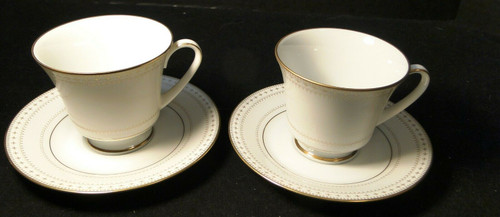 Noritake Barrington Tea Cup Saucer Set 2030 Gold Trim Set of 2 Excellent