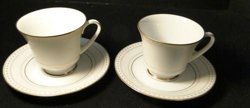 Noritake Barrington Tea Cup Saucer Set 2030 Gold Trim Set of 2 | DR Vintage Dinnerware and Replacements