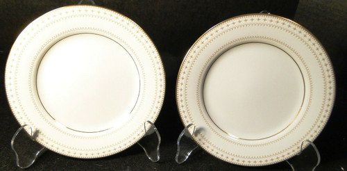 "Noritake Barrington Bread Plates 6 1/4"" 2030 Gold Trim Set of 2 Excellent"