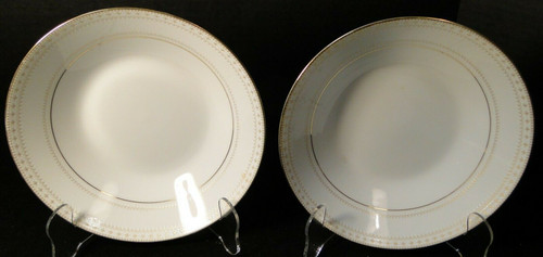 "Noritake Barrington Soup Cereal Bowls 7 3/8"" 2030 Gold Trim Set of 2 Excellent"