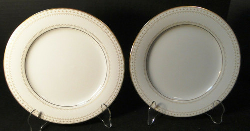 "Noritake Barrington Salad Plates 8 1/4"" 2030 Gold Trim Set of 2 Excellent"