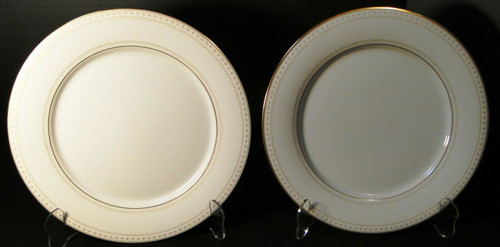 "Noritake Barrington Dinner Plates 10 1/2"" 2030 Gold Trim Set of 2 Excellent"