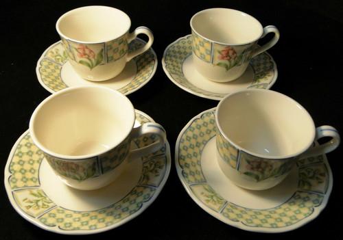 Noritake Sonoma Trellis Tea Cup Saucer Sets 9233 Homecraft Korea 4 Excellent