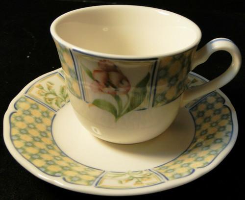 Noritake Sonoma Trellis Tea Cup Saucer Set 9233 Homecraft Korea   DR Vintage Dinnerware and Replacements