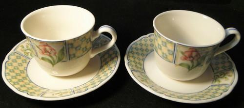 Noritake Sonoma Trellis Tea Cup Saucer Sets 9233 Homecraft Korea 2 | DR Vintage Dinnerware and Replacements