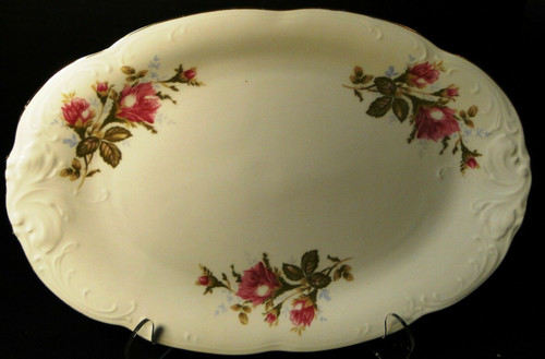 """Wawel Moss Rose Oval Platter 13"""" Poland Gold Trim 