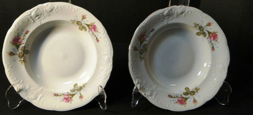 """Wawel Moss Rose Soup Bowls 8 1/4"""" Poland Gold Trim Set of 2 