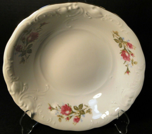 "Wawel Moss Rose Round Vegetable Serving Bowl 9"" Poland Gold Trim Excellent"