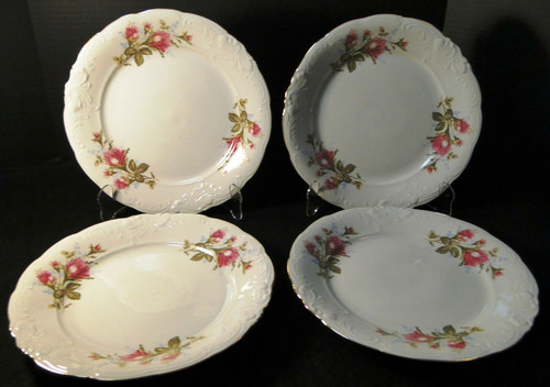 """Wawel Moss Rose Dinner Plates 10 1/2"""" Poland Gold Trim Set of 4 