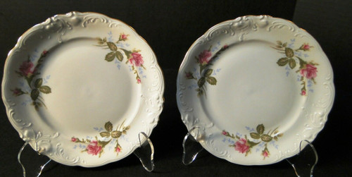 """Wawel Moss Rose Bread Plates 6 3/4"""" Poland Gold Trim Set of 2 