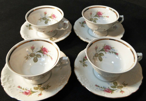 Wawel Moss Rose Tea Cup Saucer Sets Poland Gold Trim of 4 Excellent