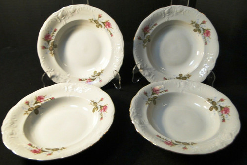 "Wawel Moss Rose Soup Bowls 8 1/4"" Poland Gold Trim Set of 4 Excellent"