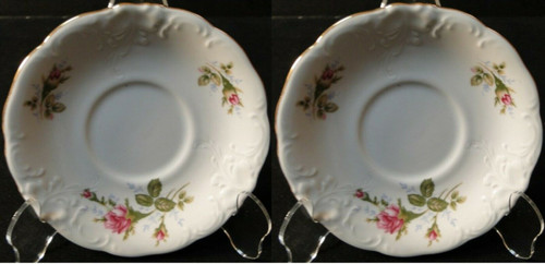 Wawel Moss Rose Saucers Poland Gold Trim Set of 2 Excellent