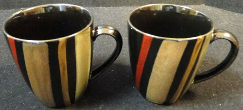 Sango Avanti Black Coffee Mugs Cups 4721 Set of 2 Excellent