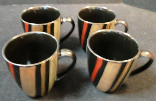 Sango Avanti Black Coffee Mugs Cups 4721 Set of 4 | DR Vintage Dinnerware and Replacements
