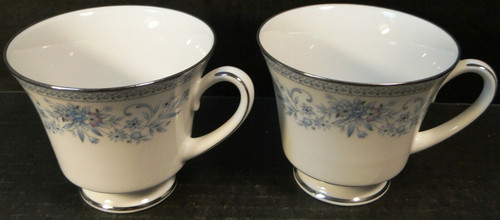 Noritake Blue Hill Tea Cups 2482 Blue White Floral Set of 2 Excellent