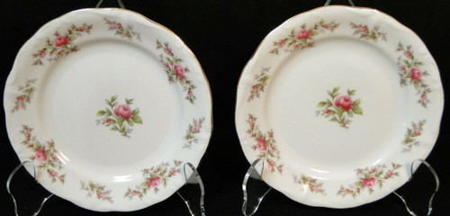 "Johann Haviland Bavaria Moss Rose Bread Plates 6 1/4"" Fruit Set of 2 