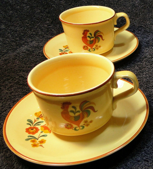 Taylor Smith Taylor Reveille Rooster Tea Cup Saucer Sets Vintage 2 | DR Vintage Dinnerware Replacements