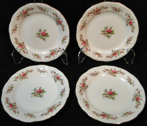 "Johann Haviland Bavaria Moss Rose Bread Plates 6 1/4"" Fruit Set of 4 Excellent"