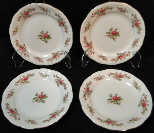"Johann Haviland Bavaria Moss Rose Bread Plates 6 1/4"" Fruit Set of 4 | DR Vintage Dinnerware and Replacements"