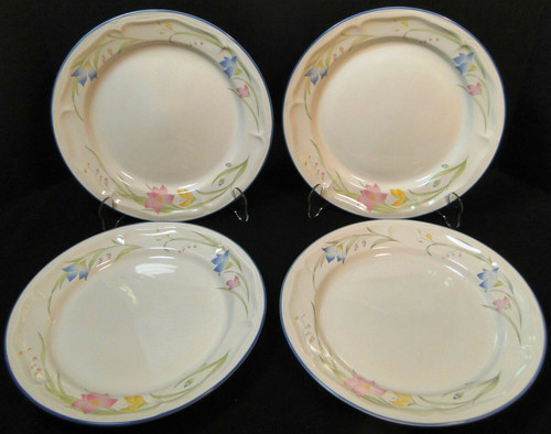 "French Garden Dinner Plates 10 5/8"" Genuine Stoneware Thailand Set 4 