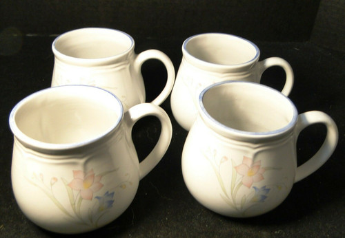 French Garden Coffee Mugs Cups Genuine Stoneware Thailand Set of 4 Excellent