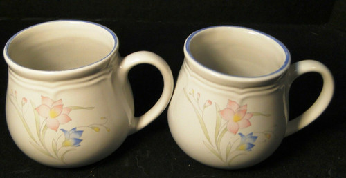 French Garden Coffee Mugs Cups Genuine Stoneware Thailand Set of 2 Excellent