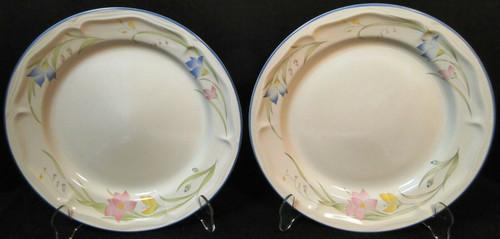 "French Garden Dinner Plates 10 5/8"" Genuine Stoneware Thailand Set 2 | DR Vintage Dinnerware and Replacements"