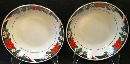 """Tienshan Deck the Halls Soup Bowls 7 1/2"""" Christmas Poinsettia Set 2 