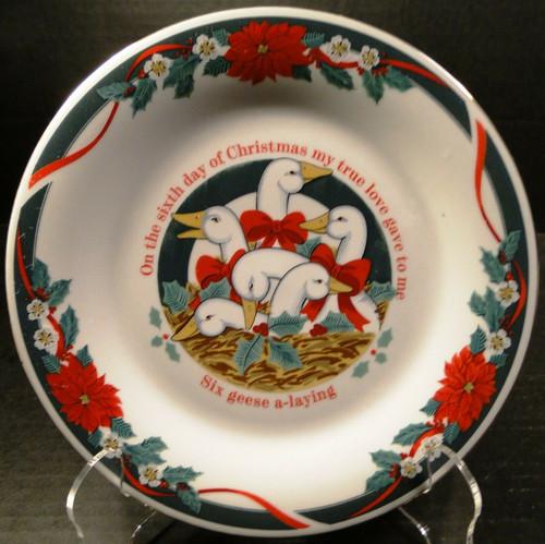 "Tienshan Deck the Halls Salad Plates 7 1/2"" 12 Days of X-Mas 6 Geese Laying 