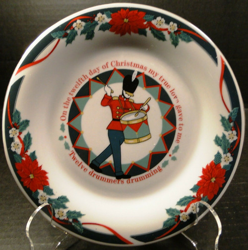 "Tienshan Deck the Halls Salad Plates 7 1/2"" 12 Days of X-Mas Drummers Drumming 