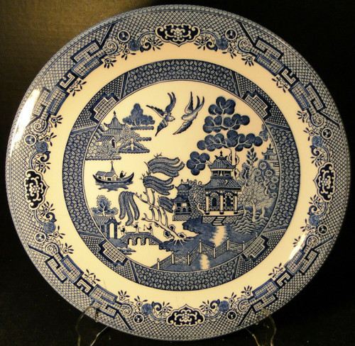 """Churchill Blue Willow Chop Plate 12 7/8"""" England Round Platter 