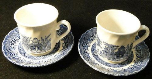 Royal Wessex Willow Blue White Cup Saucer Sets England 2 Excellent
