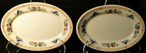 """Syracuse Restaurant Ware SY423 Relish Trays 7"""" Red Flowers Set of 2 