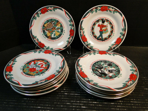 "Tienshan Deck the Halls Salad Plates 7 1/2"" 12 Days of X-Mas Entire Set of 12 