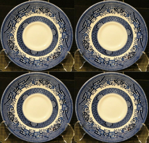 "Churchill Blue Willow Saucers 5 5/8"" England Set of 4 Excellent"