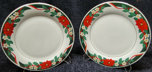 "Tienshan Deck the Halls Dinner Plates 10 5/8"" Christmas Set of 2 